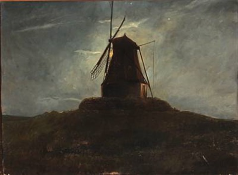 late evening with a view to a mill in moonlight by carl christian ferdinand wentorf