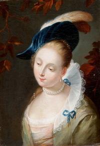 portrait einer jungen dame mit perlenkette und berret mit federn by german school (18)