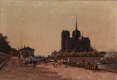 view of notre dame in paris by henri linguet