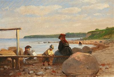 children and their mothers on lundeborg beach by anton laurids johannes dorph