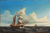 seascape with a sailing ship passing trekroner fortress, copenhagen by jens thielsen locher
