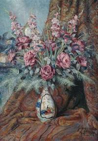 stilleben mit blumen in asiatischer vase vor buntem vorhang by georges goffart