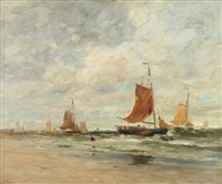 windy day on dutch coast by charles paul gruppe