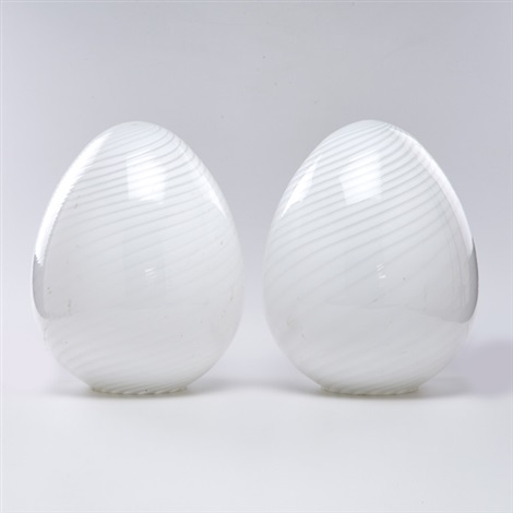 egg-shaped table lamps (pair) by ferro murano