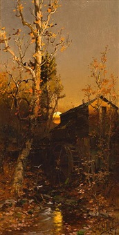 rivermill at sunset (+ midday landscape; 2 works) by george herbert mccord