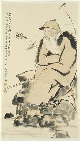 elderly fisherman sitting on a riverbank by jang chao