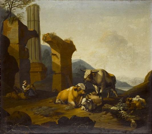 hirtin mit vieh vor einer ruine in weiter landschaft by jan asselijn