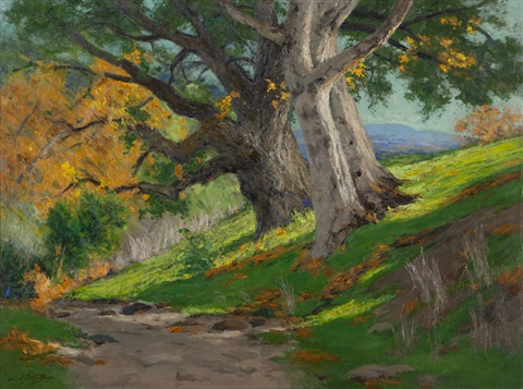 california autumn oak sycamores by charles partridge adams