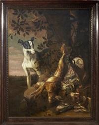 jaktstilleben med hare, kramsfågel och jakthundar by david de coninck