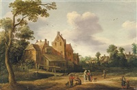 landscape with farmhouse by joost cornelisz droochsloot