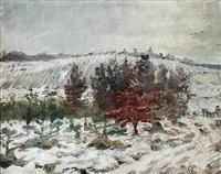 en graa vinterdag med snesjap ve emdrup (winter landscape from emdrup, denmark) by albert gottschalk