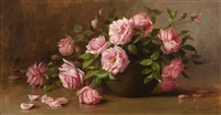 pink roses on a tabletop by julia i. leonard