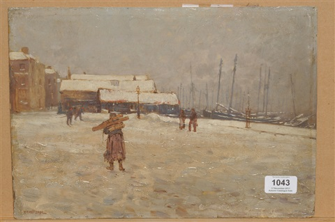 quayside scene with figures in a winter landscape by ernest dade
