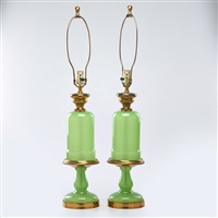 vaseline lamps(pair) by ferro murano