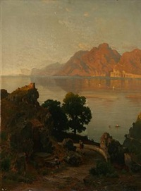 quiet evening in italy by carl gustav rodde