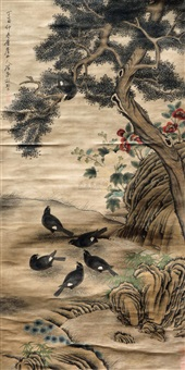 花鸟图 (painting of flowers and birds) by chen shuaizu