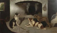 cottage interior with dogs by an open fire by edward armfield