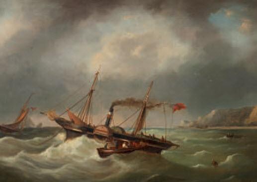 dampfsegelschiff vor der küste von dover by govert van emmerik