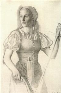 hübsches bauernmädchen mit sense by viktor hammer