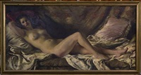 femme nue allongée by ernest santasusagna santacreu