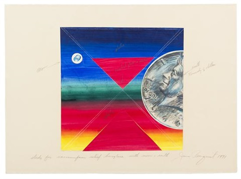 study for vacuumform relief hourglass with moon and earth by james rosenquist