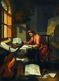 gelehrter in seiner studierstube umgeben von büchern, globus, cello und gemälde by hendrik heerschop