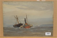 fishing boat and steam packet off a coastline by ernest dade