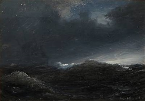 seascape at nighttime by daniel hermann anton melbye