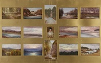 vignettes of the fochabers area (set of 14; +study; 15 works) by scottish school (19)