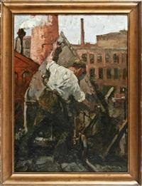 industriearbeiter beim abladen eines kohlewagens by leonhard sandrock
