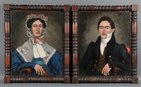 portraits of a lady and gentleman (a pair) by erastus salisbury field