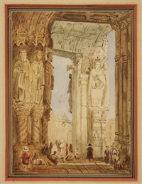 early cathedral portico with figures by samuel prout