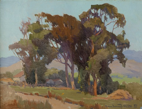 cottages in the shadow of eucalyptus trees by marion kavanaugh wachtel