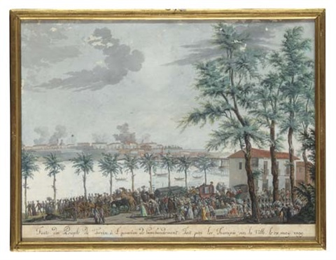 the bombardment of turin by the french with the citizens fleeing along the riverbank by italian school piedmont 19