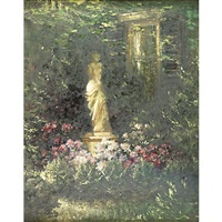 a garden with statuary by carl kahler