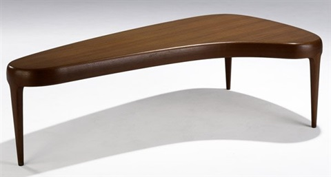 coffee table with biomorphic top by johannes andersen
