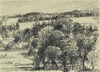 baumlandschaft mit scheune - wolken über hügellandschaft (2 works) by max slevogt