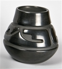 blackware carved pot by mela youngblood