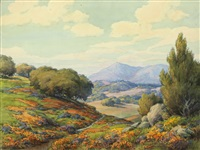 poppies and lupine in a california valley by benjamin chambers brown