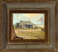 pasture scene with log cabin by rudolph g. guzzardi