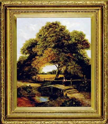 woman on bridge in landscape by c. austin