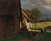 summer day with chickens at a farm by vilhelm theodor fischer
