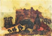 südliche landschaft mit kastell by christian kruck