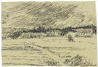 landschaft mit gewitterwolken - baumbestandene wiese (2 works) by max slevogt