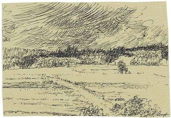 landschaft mit gewitterwolken baumbestandene wiese 2 works by max slevogt