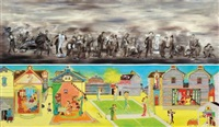 fleeing refugee (+ dancing ladies; 2 works) by liu dahong