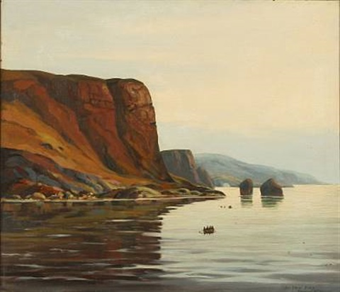 Landscape From Greenland With Kayaks And A Umiak By Emanuel Petersen