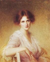 porträt einer jungen fraui im lila kleid by edouard cabane