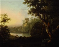 view of lake avernus with shepherdess on horseback and classical ruins beyond by robert freebairn