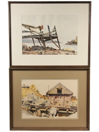 derelict pier and lobster shanty (2 works) by gene (charles eugene) klebe